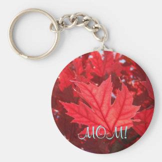 ¡MAMÁ! hoja roja de la caída del otoño de las Llavero Redondo Tipo Pin