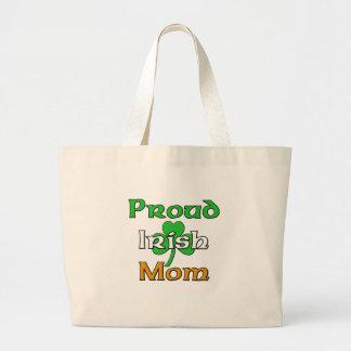 Mamá irlandesa orgullosa bolsa tela grande