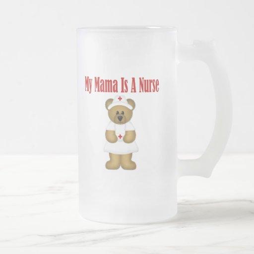 Mama Is A Nurse Bear 16 Oz Frosted Glass Beer Mug