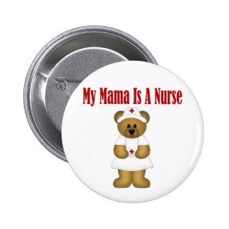 Mamá Is A Nurse Bear Pin Redondo De 2 Pulgadas