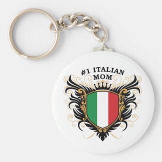 Mamá italiana del número uno llavero redondo tipo pin