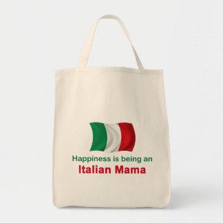 Mamá italiana feliz bolsa tela para la compra
