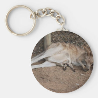 Mama Kangaroo with Joey in Pouch Basic Round Button Keychain