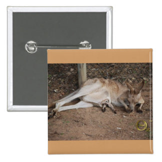 Mama Kangaroo with Joey in Pouch Pinback Button