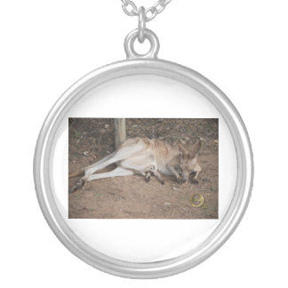 Mama Kangaroo with Joey in Pouch Round Pendant Necklace