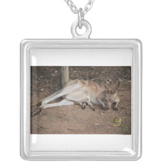 Mama Kangaroo with Joey in Pouch Square Pendant Necklace