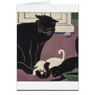 Mamá Kat y gatitos Felicitación