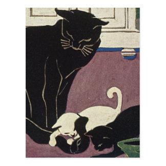 Mamá Kat y gatitos Postales
