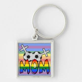 Mamá lesbiana del fútbol (con el arco iris) llaveros personalizados