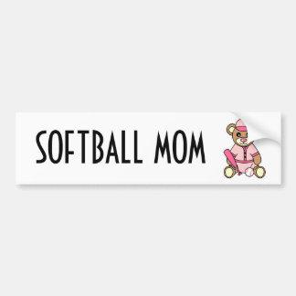 Mamá linda del softball - rosa del oso de peluche  pegatina de parachoque