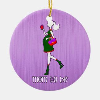 Mamá linda ser maternidad personalizada fechada adorno navideño redondo de cerámica