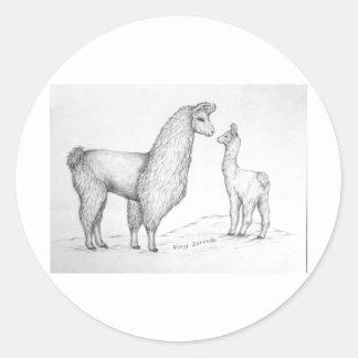 Mama Llama and Cria Classic Round Sticker