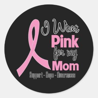 Mamá - llevo rosa - cáncer de pecho pegatina redonda