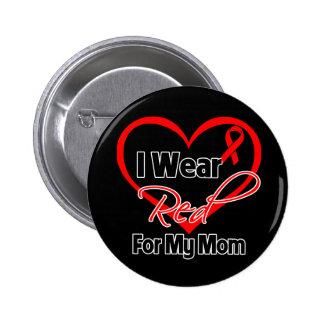 Mamá - llevo una cinta roja del corazón pins