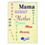 Mamá, mamá, madre, mamá tarjeta de felicitación