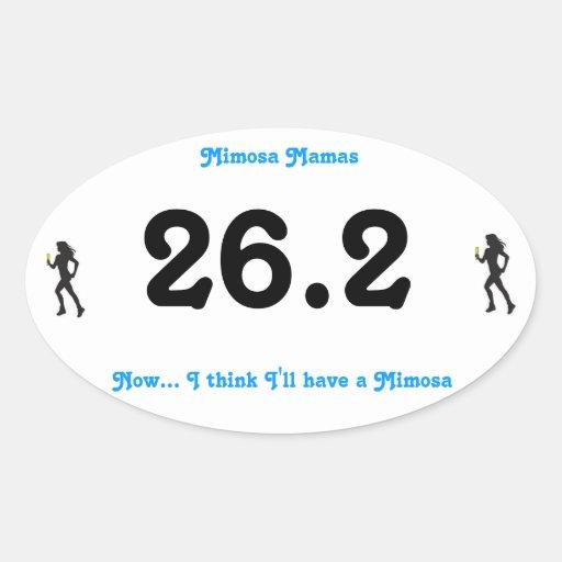 Mamá Marathon Sticker del Mimosa Pegatina Ovalada