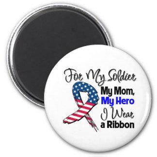 Mamá - mi soldado, mi cinta patriótica del héroe imán redondo 5 cm