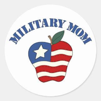 Mamá militar Apple patriótico Pegatina Redonda