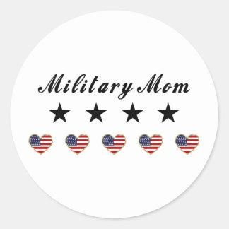 Mamá militar pegatina redonda