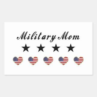 Mamá militar pegatina rectangular