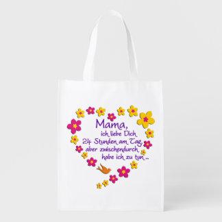 Mama / Mom HEART & Text Reusable Grocery Bag