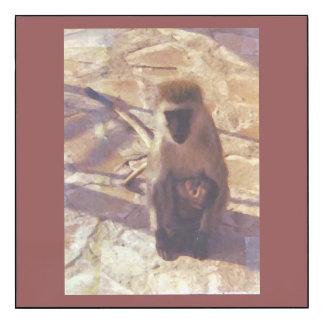 Mamá Monkey y bebé Impresión En Madera