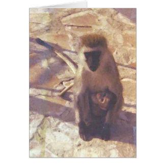 Mamá Monkey y su bebé de la casa de campo de Tarjeta De Felicitación
