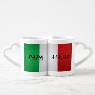 Mamá Mug Set italiana de la papá de la bandera Tazas Para Parejas