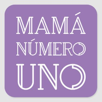 Mamá Número Uno Modern Geometric Font on Violet Square Sticker