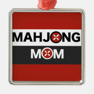 Mamá O de Mahjong substituida por diseño floral Adorno Navideño Cuadrado De Metal