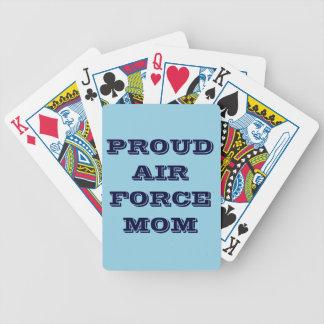 Mamá orgullosa de la fuerza aérea de los naipes barajas de cartas