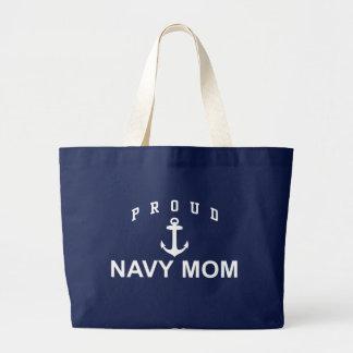 Mamá orgullosa de la marina de guerra bolsa de tela grande