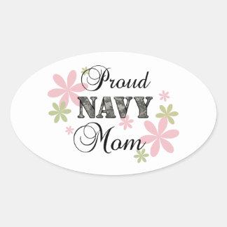 Mamá orgullosa de la marina de guerra [la Florida Pegatinas De Óval Personalizadas