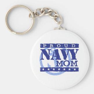 Mamá orgullosa de la marina de guerra llavero redondo tipo pin