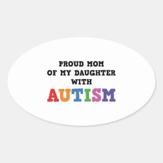 Mamá orgullosa de mi hija con autismo pegatina ovalada