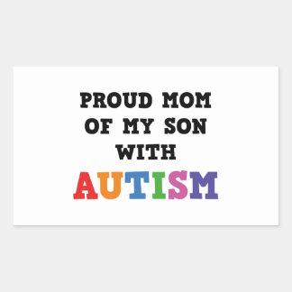 Mamá orgullosa de mi hijo con autismo pegatina rectangular