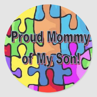 Mamá orgullosa de mi hijo pegatina redonda