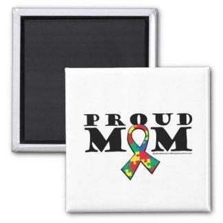 Mamá orgullosa del autismo imán cuadrado