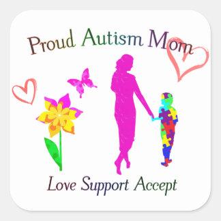 Mamá orgullosa del autismo pegatina cuadrada