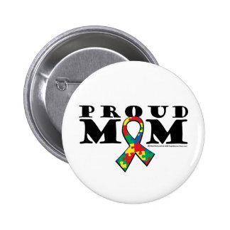 Mamá orgullosa del autismo pin redondo de 2 pulgadas