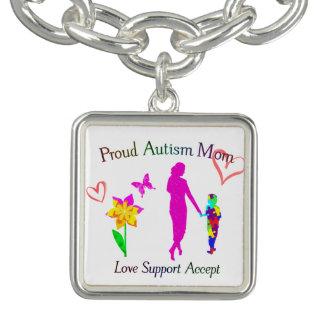 Mamá orgullosa del autismo pulseras con dijer