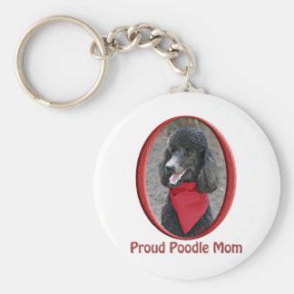 Mamá orgullosa del caniche llavero redondo tipo pin