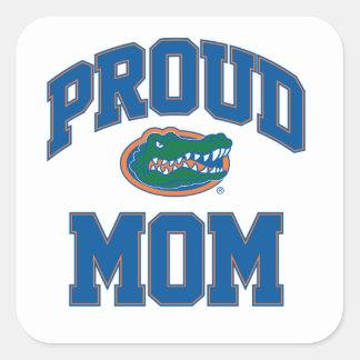 Mamá orgullosa del cocodrilo pegatina cuadrada
