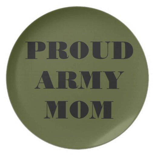 Mamá orgullosa del ejército de la placa platos de comidas