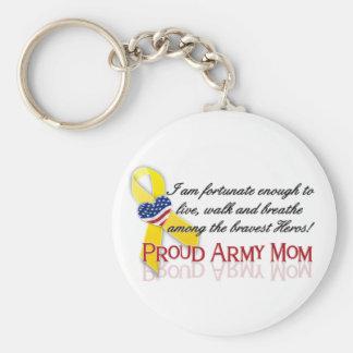 Mamá orgullosa del ejército llavero redondo tipo pin