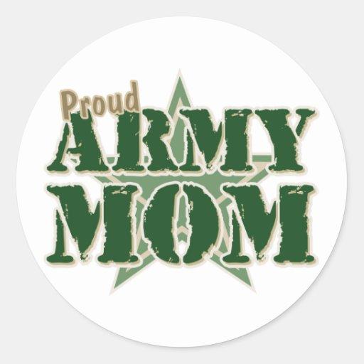 Mamá orgullosa del ejército pegatina redonda
