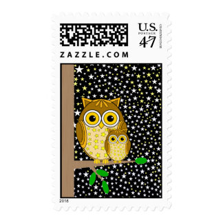 mama owl and baby owl postage
