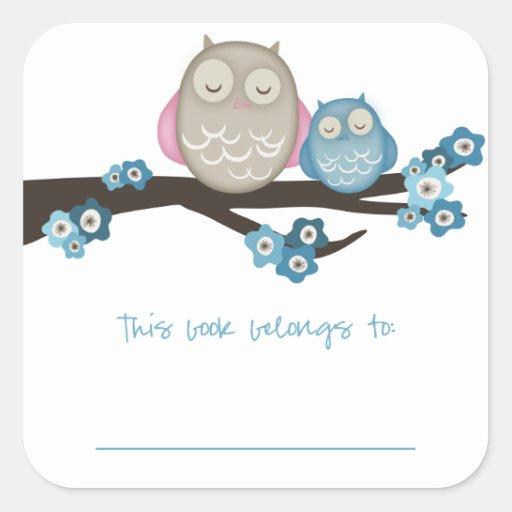 Mama Owl & Baby {Blue} | Bookplates Square Sticker