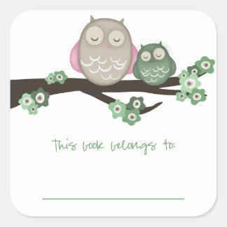 Mama Owl & Baby {Green} | Bookplates