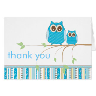 Mama Owl & Baby Owl in Blue Thank You Card